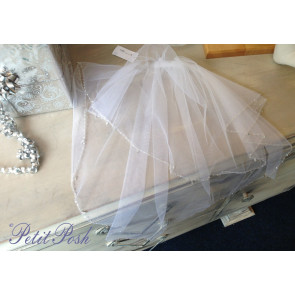 Little People 2000 White Tulle double layer veil with comb attachment and faux crystal droplets and tiny baguettes.