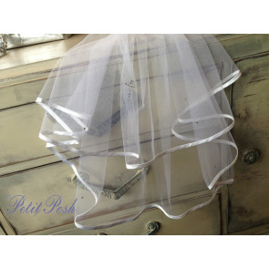 Little People 2022x White Tulle double layer satin edged  holy cross communion veil