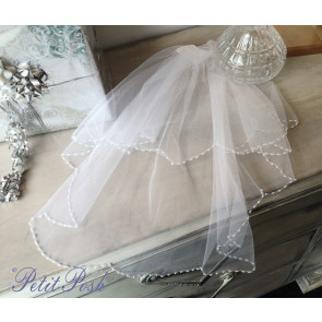 Little People 2042 Pearls & Beads Scallop Edge Communion Veil