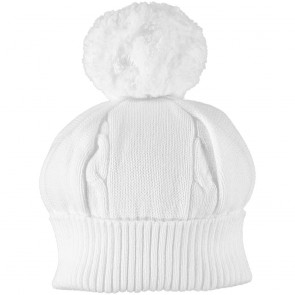 Emile et Rose 4658 FUZZY Cable Knit Bobble White