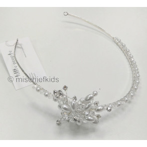 Little People 4890 offset Pearl + Diamante Flower Headband
