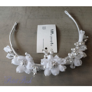 Little People 4998 Girls White Floral Pearl Headdress