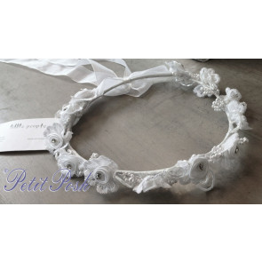 Little People 5354 White Floral Garland Circle Communion or Flower Girl Headdress