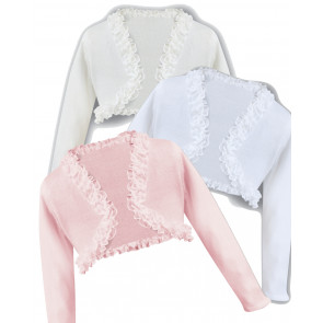 Sarah Louise 006675 Fine Cotton Knit Ruffle Edge Bolero Cardigan IVORY or PINK or WHITE