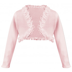 Sarah Louise 006675 Fine Cotton Knit Ruffle Edge Bolero Cardigan PINK
