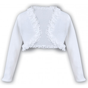 Sarah Louise 006675 Fine Cotton Knit Ruffle Edge Bolero Cardigan WHITE