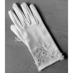 Little People 752 White Floral Inset Stretch Satin Communion Gloves