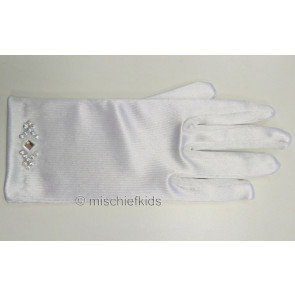 White stretch satin communion gloves