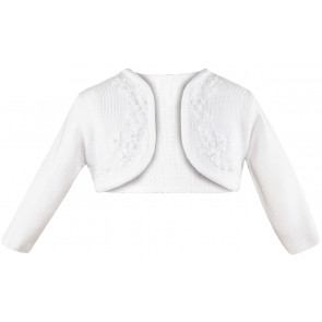 Sarah Louise 006787 Flower Embroidered Bolero Cardigan WHITE