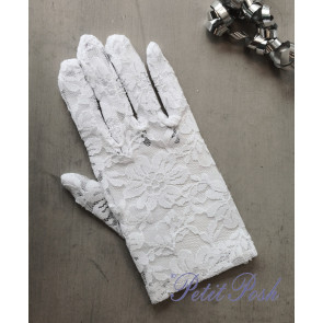 Little People 791 White Lace Stretch Communion Gloves