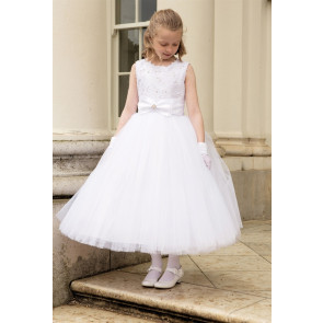 cd661041c64 Cerimonia ANASTASIA Tulle Communion Dress with Removable Hoops WHITE ANKLE  LENGTH