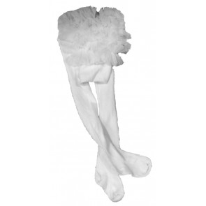Couche Tot CT02 Baby Ruffle Tutu Tights WHITE