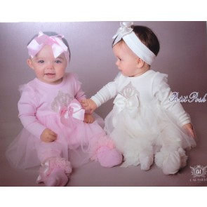 Caramelo 0860052 Baby Dress Legging headband set in ivory or pink