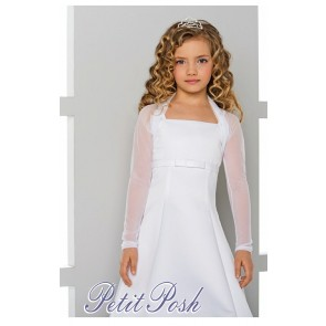 acey Bell CJ-70 White Sheer Stretch Shrug Bolero Communion Jacket