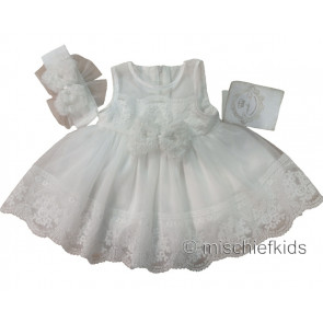 Couche Tot CT082 Ivory Baby Dress & Headband
