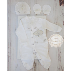 Couche Tot CT305 Baby Girls Romper Hat & Mittens Set Ivory GIFT BOXED