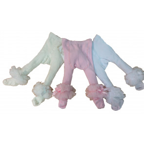 Couche Tot CT3720 Baby Ankle Tutu Tights IVORY PINK or WHITE
