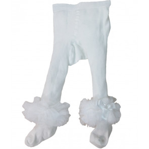 Couche Tot CT3720 Baby Ankle Tutu Tights WHITE