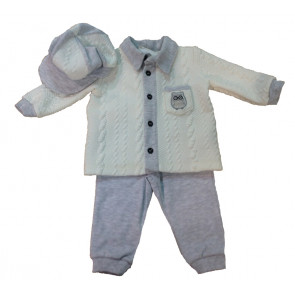 Couche Tot CT4173 Grey Baby Boys 3 Piece Set GIFT BOXED