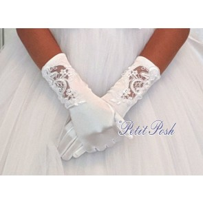 Stretch satin communion gloves 3/4 length (midway between wrist and elbow)