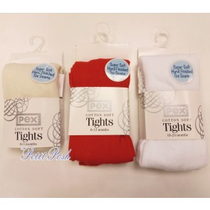 Pex Cotton Soft Sunset Tights in ivory red and white