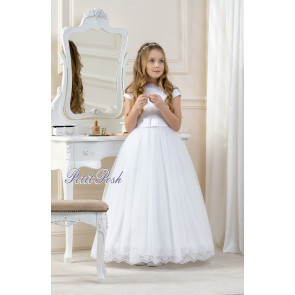 Lacey Bell CD11 LAUREN Tulle Lace Communion Dress - Ankle Length with lace on the hem of the tulle skirt and lace overlay on the bodice.