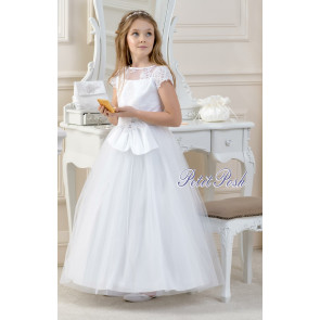 Lacey Bell CD19 LILLY Satin, Tulle and Lace Communion Dress - Ankle Length