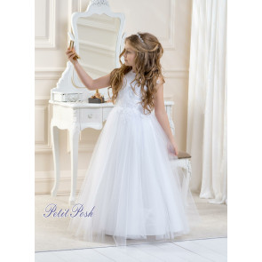Lacey Bell CD1 LALIA Glitter Tulle Communion Dress in white or ivory - Ankle Length
