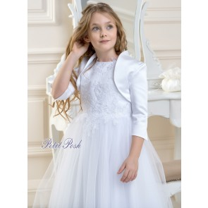 Lacey Bell CJ-55 White Satin Communion Bolero Jacket worn over CD-1 Lalia Communion Dress