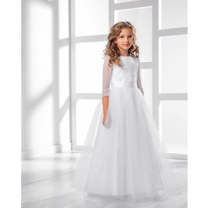 Lacey Bell CD-29 white communion dress with sheer three quarter sleeve