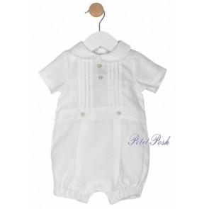 Mintini MB1289 White Linen Baby Bubble Romper