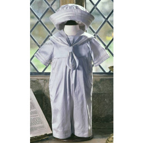 Little Darlings A2784 Duke Blue Silk Victorian Sailor Suit Set BLUE/IVORY