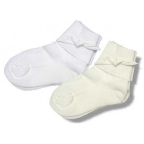 Little Darlings BS1089 Ivory Unisex Socks with silk knot