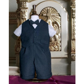 Little Darlings A4239 Maxwell Navy Waistcoat, Shirt, Shorts and Bow Tie Set