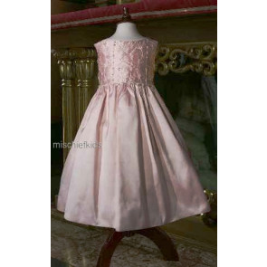 Little Darlings Scarlet D5200 Pink Silk Bridesmaid | Flower Girl Dress PINK