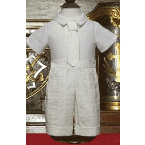 Little Darlings SPENCER IVORY TS6143 Shirt, Shorts and Tie Set