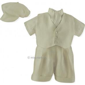 Sarah Louise 002241 5 Piece Shirt, Waistcoat, Shorts & Cravat Set IVORY SILK