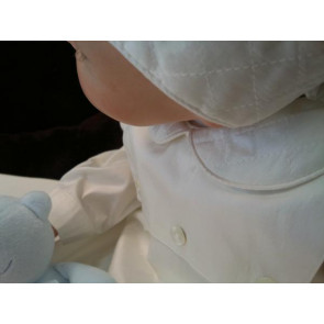 Sarah Louise 001177 Ivory Silk Baptism Gown & Bonnet Set LONG SLEEVE