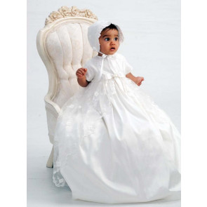 Sarah Louise 001133 Ivory Silk & Lace Christening Gown & Bonnet