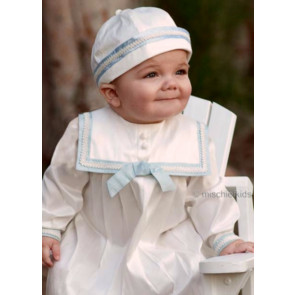 Sarah Louise 002238 Silk Christening Romper and Hat Set