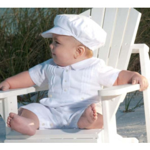 Sarah Louise 002243 White Linen Mix Christening Romper and Hat Set