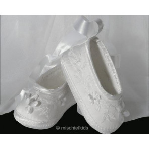 Sarah Louise 489 Girls White Floral Embroidered Ballerina Shoe