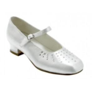 Little People 2865 BANO White Satin Diamante Kitten Heel Shoes