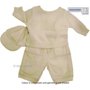 Emile et Rose 24002 6253 Ivory Sweater Trouser and Hat Set