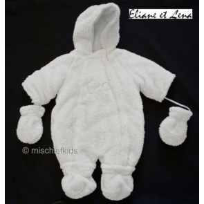 Eliane et Lena 24911 White Fleece Snowsuit