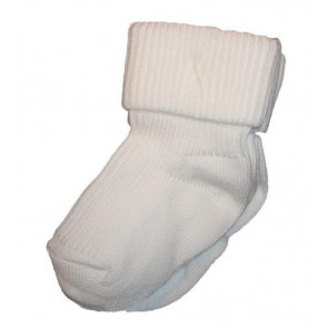 Pex ROMAw Two Pair Plain White Turnover Top Socks