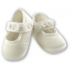 Sarah Louise 412 Girls Mary Jane Pram Shoe IVORY
