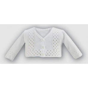 Sarah Louise 697 White Unisex Soft Knit Cardigan