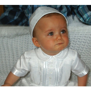 Sarah Louise 002232 Pleated Front Christening Romper and Hat WHITE SHORT SLEEVE