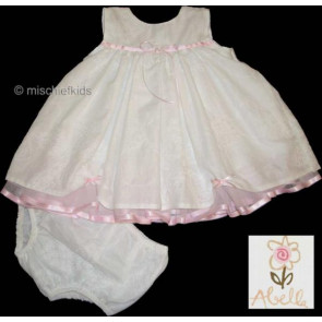 Abella 25211 White and Pink Dress Set